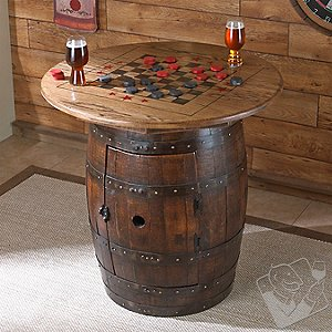 Whiskey Barrel Game Table