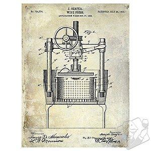 1903 Wine Press Patent Giclee Print on Canvas