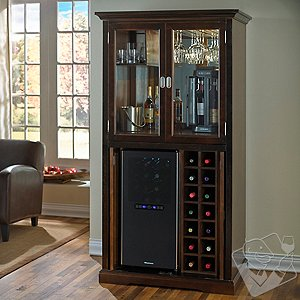 Firenze Wine and Spirits Armoire Bar with 32 Bottle Touchscreen Wine Refrigerator