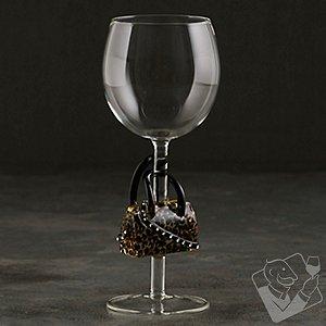 Collectible Leopard Handbag Wine Glass