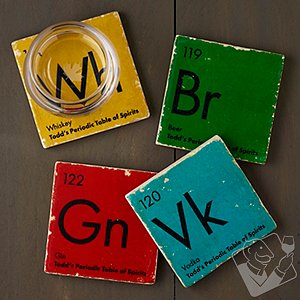 Personalized Periodic Table of Spirits Marble Coasters (Set of 4)