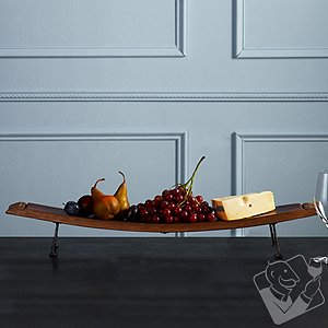 Reclaimed Wine Barrel Stave Server with Iron Feet