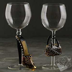 Collectible Leopard Stiletto and Handbag Wine Glasses Set