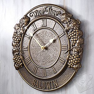 Personalized 'Wine Time' Clock (Grapevine Relief)