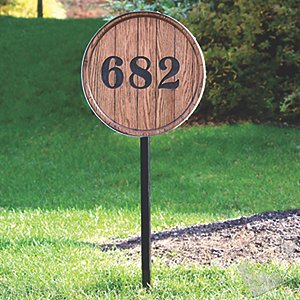 Barrel Head House Marker with Ground Stake
