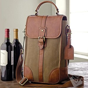 2-Bottle Leather and Waxed Canvas Wine Bag