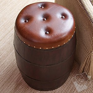 Barrel Stool With Leather Seat
