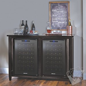 Firenze Mezzo Wine and Spirits Credenza with Two 28 Bottle Touchscreen Wine Refrigerators (Nero)