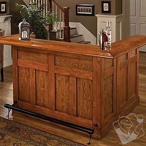 Classic Wrap Around Home Bar (Oak Finish)