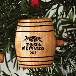 Personalized Mini Wine Barrel Ornament 2016