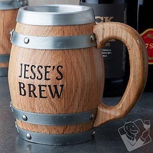 Personalized Oak Barrel Stainless Steel Mug