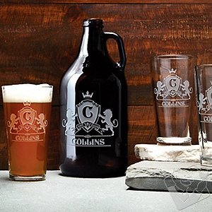 Personalized Family Crest Growler & Pint Glass Collection