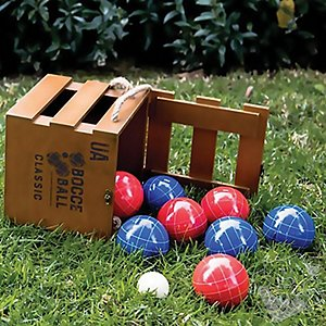 Bocce Ball Set with Rustic Crate