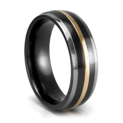 Black Hills Gold Wedding Bands on Artcarved   Black Titanium And Gold Wedding Band    Mystique