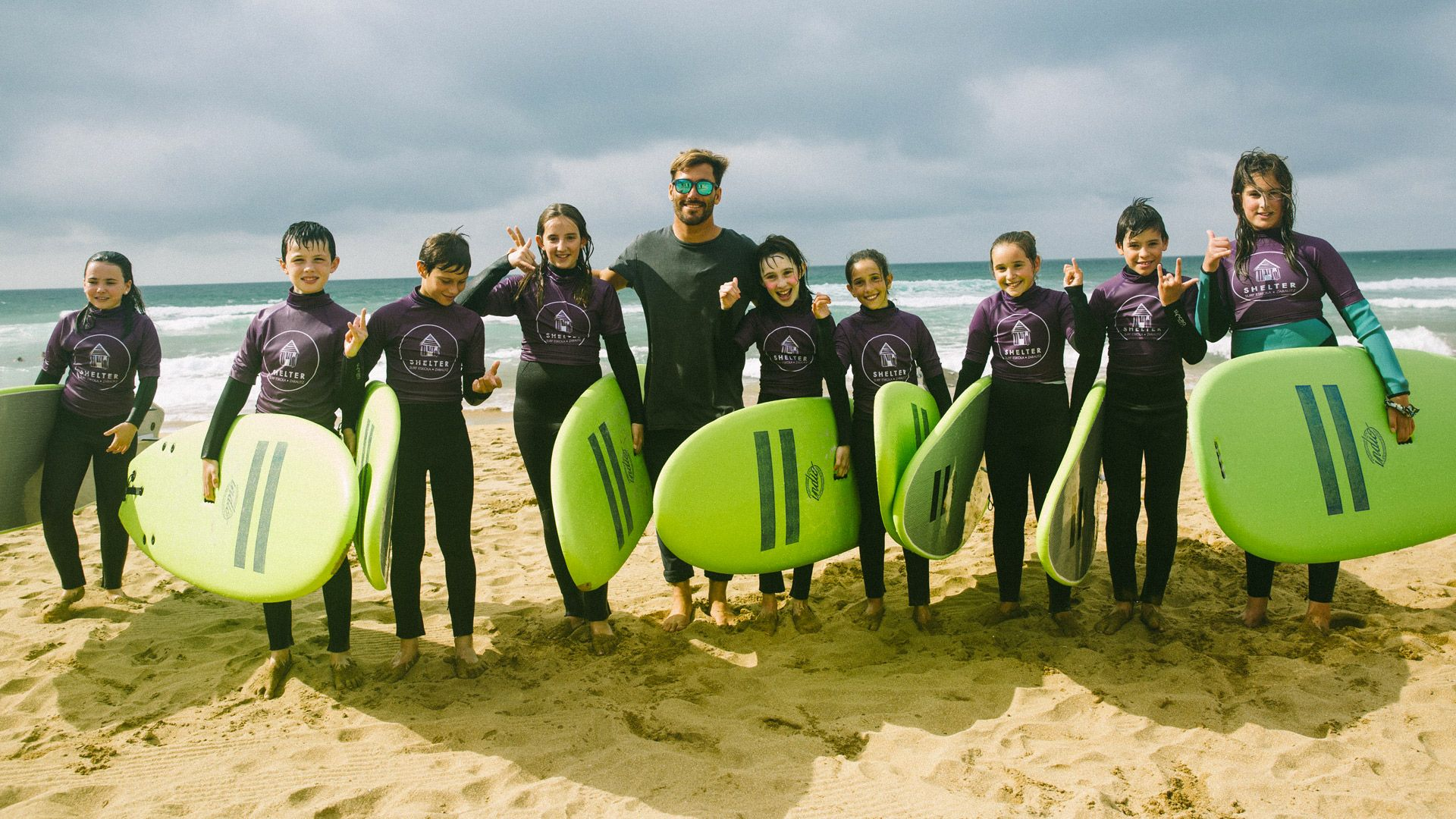 Young people surf