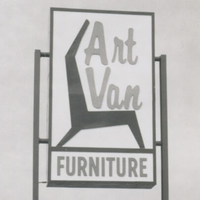 Sign from the first Art Van Furniture store opened in 1959 in Detroit