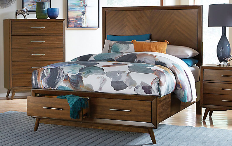 Brown natural wood 3 piece bedroom set featuring a bed with storage drawers, nightstand and dresser with hairpin legs
