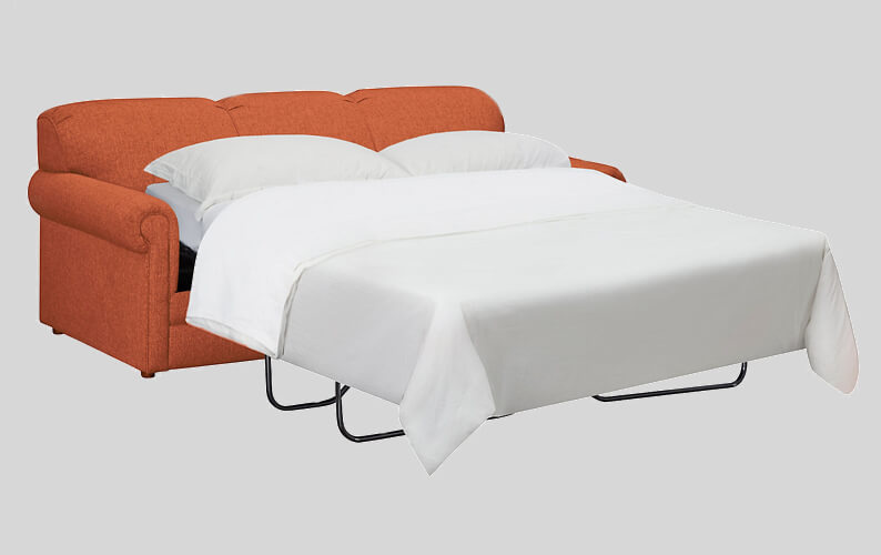 Orange fabric sleeper sofa perfect for your she shed