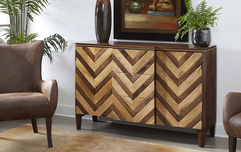 Dark brown and natural wood herringbone 2 door credenza with 3 middle drawers