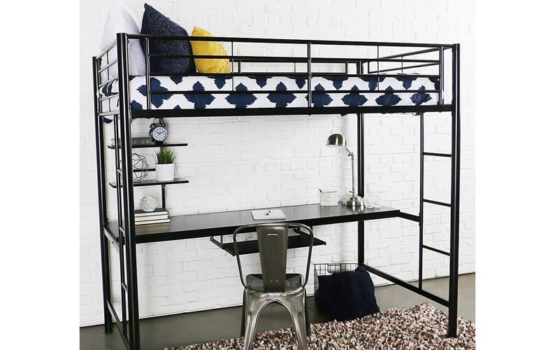 Black metallic loft bed with a detachable desk, two shelves and two ladders