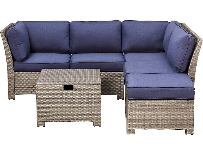 Brandford 6 piece Sectional, Blue, , large