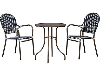 b059e2b56ae021 Mendicino 3 Piece Navy and White Bistro set