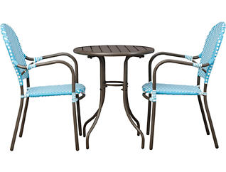 Mendicino 3 Piece Teal and White Bistro Set, , large