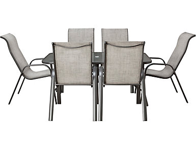 Manor III 7 Piece Grey Dining Set, , large