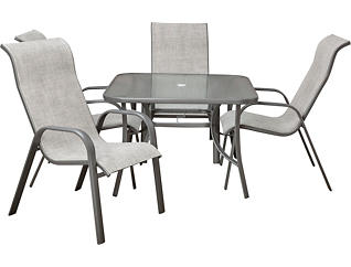 Manor III 5 Piece Grey Dining Set, , large
