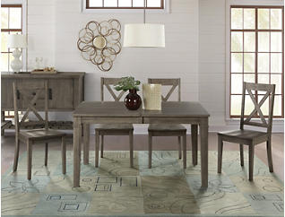 Huron Chalk Leg Table 5 Piece Set with X-Back Chairs, , large