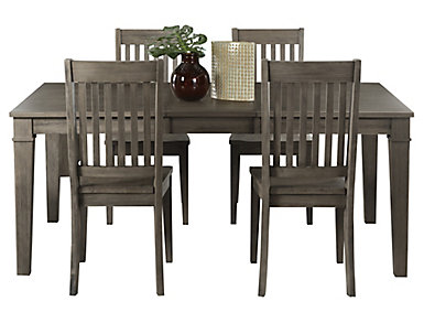 Huron Grey Leg Table 5 Piece Set - Slat, , large