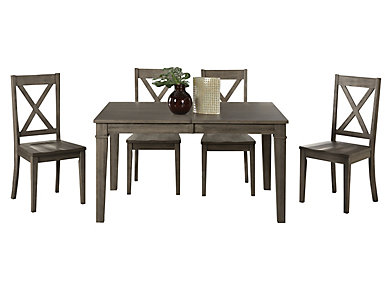 Huron Grey Leg Table 5 Piece Set - X-Back, , large