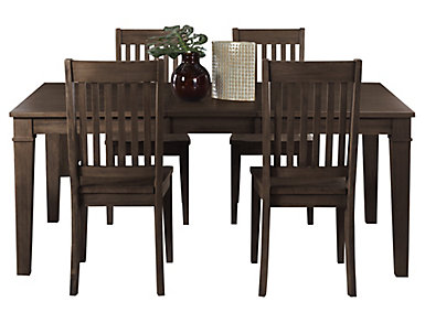 Huron Leg Table 5 Piece Set - Slat, , large