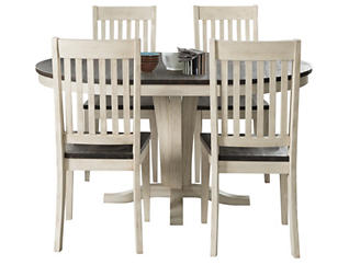 Logan Square Grey 5 Piece Dining with Upholstered Chairs