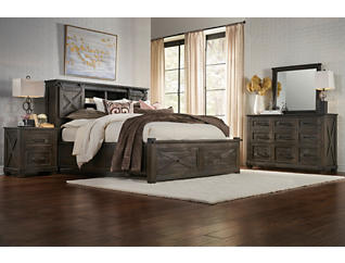 Sun Valley Charcoal Queen Storage Bed, , large