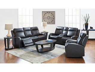 iTron Triple Power Steel Grey Leather Reclining Sofa, , large