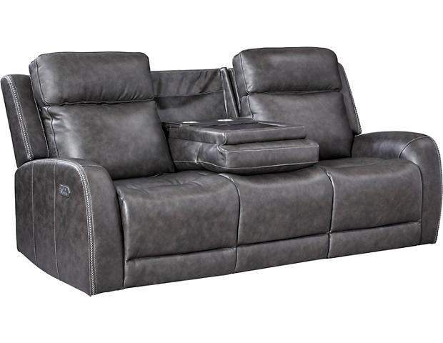 iTron Steel Grey Power Leather Reclining Sofa