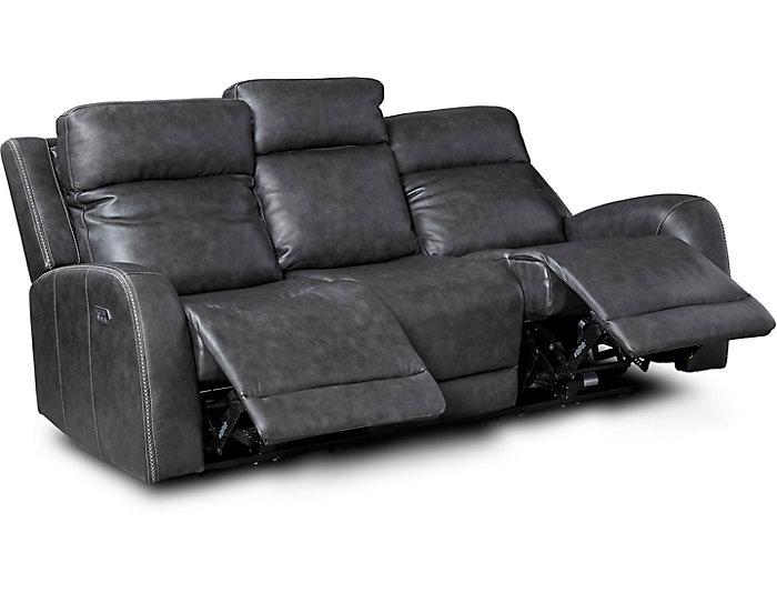 Super Itron Steel Grey Power Leather Reclining Sofa Inzonedesignstudio Interior Chair Design Inzonedesignstudiocom