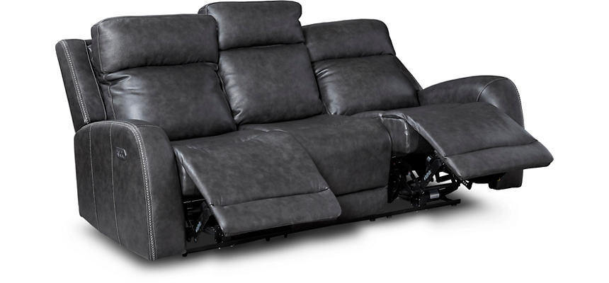 iTron Triple Power Steel Grey Leather Reclining Sofa