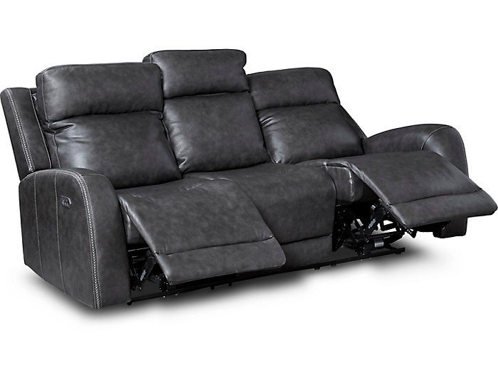 iTron Steel Grey Power Leather Reclining Sofa