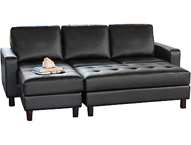 Rin Black Sectional & Ottoman, , large