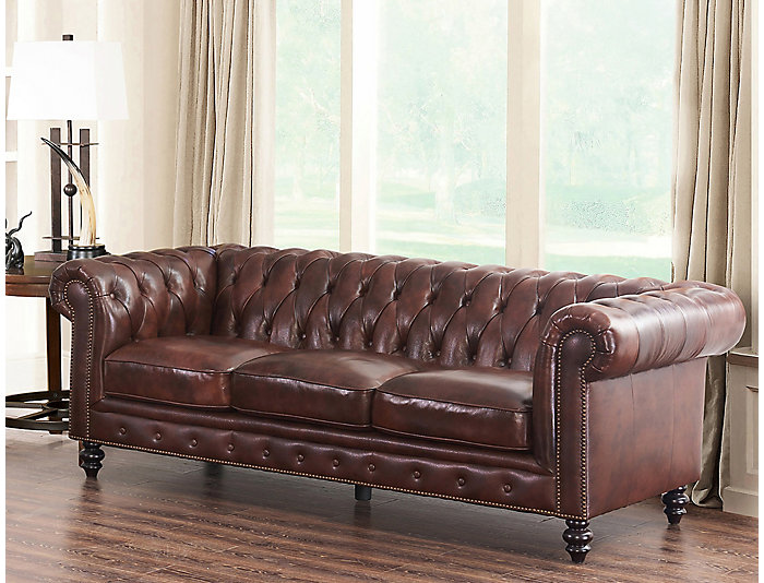 Luca Leather Chesterfield Sofa, , Large ...