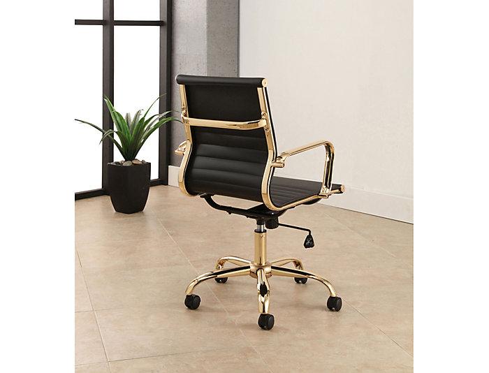 premium selection 3f4b4 b27be York Black & Gold Desk Chair | Art Van Home