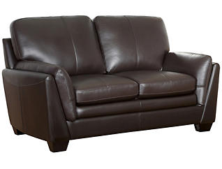 Mateo Brown Leather Loveseat, , large