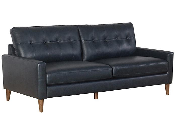 Brio Navy Leather Sofa