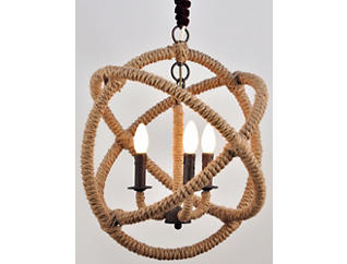 Tuscan 3 Light Rope Chandelier, , large