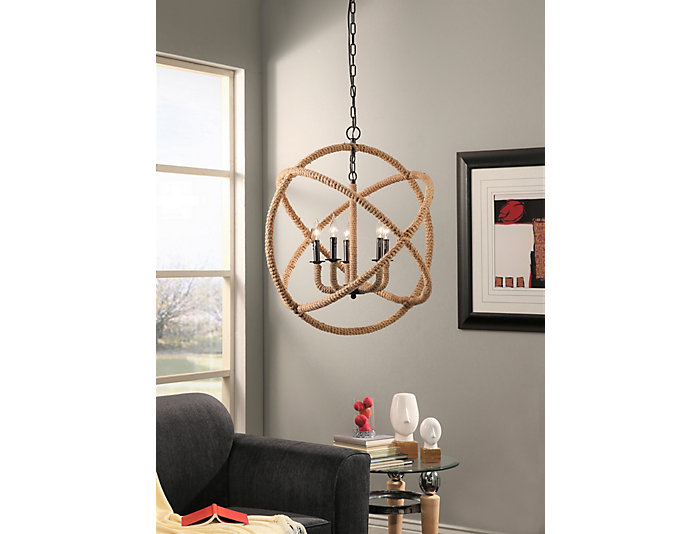 Tuscan 5 Light Rope Chandelier, , large