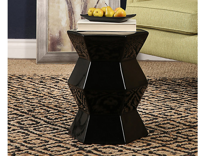 Apache Black Garden Stool, , large