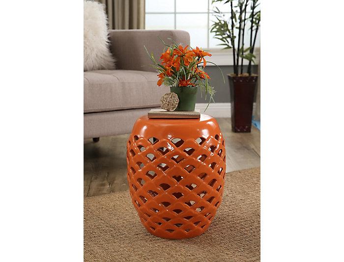 El Nido Orange Garden Stool, , large