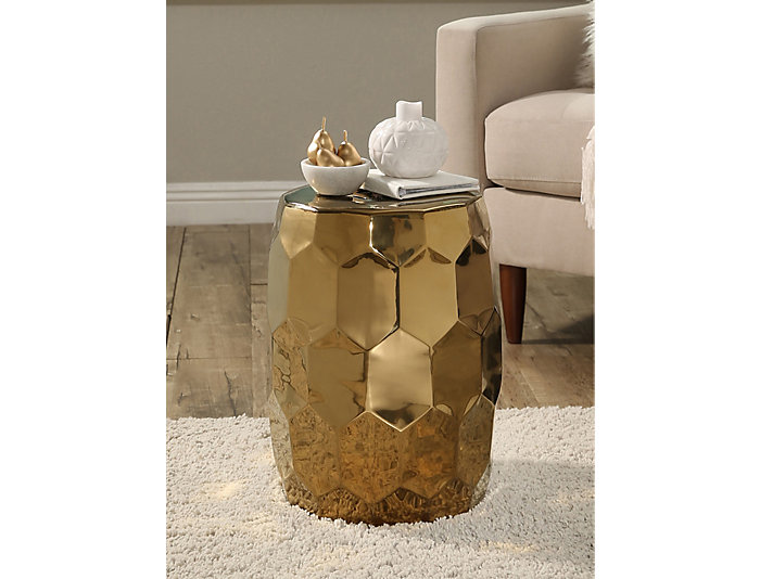 Helm Gold Garden Stool, , large